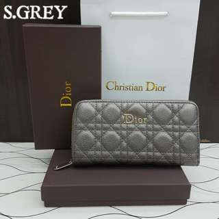 Dior Zippy Wallet Silver Grey
