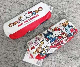 🚚 三麗鷗HELLO KITTY凱蒂貓鐵扣橫式布筆袋 收納袋 置物袋 化妝袋