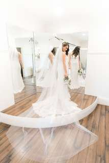 Instock - cathedral 3.8m raw edge soft net bridal veil