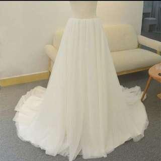 Ivory White Cream Boho Tulle Skirt