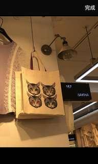 韓國東大門代購 18年春夏新款 時尚百搭貓貓圖案帆布單肩手提包