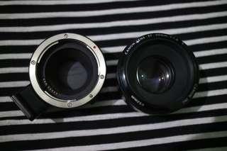lensa fix canon 50mm + Adapter E0S M