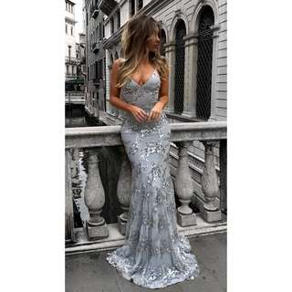 Sequin V-Neck Maxi Long Dress