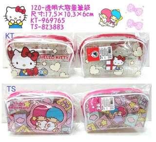 🚚 三麗鷗HELLO KITTY凱蒂貓雙子星透明大容量筆袋 收納袋 置物袋 化妝袋