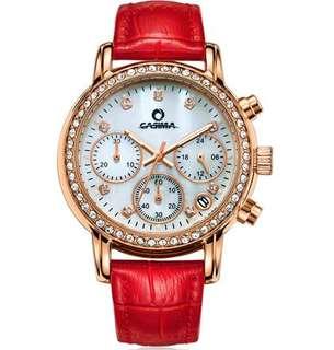 Fashion Luxury brand watches women Elegant leisure gold crystal women's chronograph quartz wrist watch waterproof CASIMA #1010