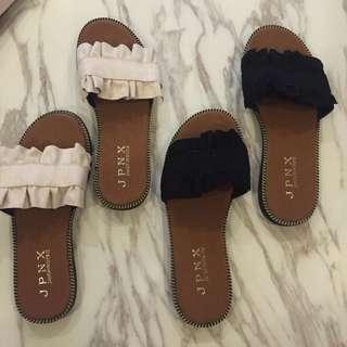 INSTOCK frilly fringe tassel basic essentials slip on sandals shoes