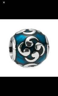 Authentic Pandora Sterling Silver Turquoise Comma Zen Bead Charm