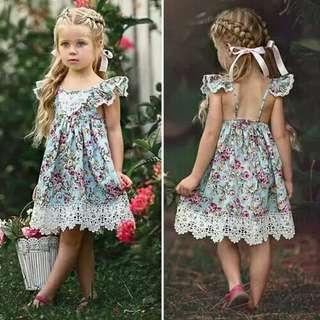 New Flower Lace Dress Princess Kids Baby Girls Sleeveless Dress Floral Tulle Party Wedding Dress Children Summer Sundress
