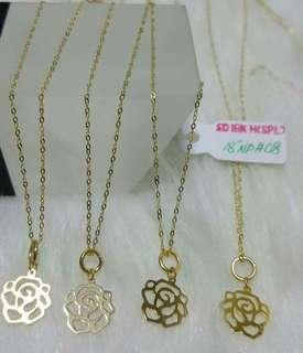 18K|750 Rose Necklaces Genuine Gold