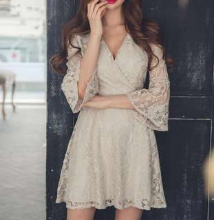 Beige nude lace dress