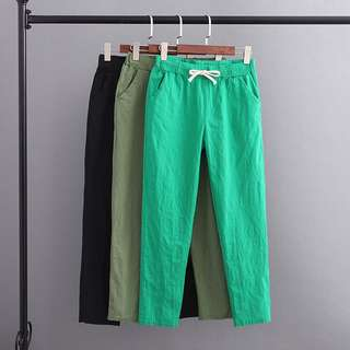 (XL~3XL) F52 spring and summer new elastic waist with a cotton and linen pants