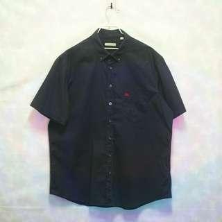 三件7折🎊 Burberry 短袖襯衫 襯衫 深藍 電繡logo 胸前口袋 極稀有 老品 復古 古著 Vintage