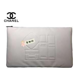 【CHA*EL】護膚品 圖案 拉鍊化妝包:白色  ( $105 - 包順豐 )