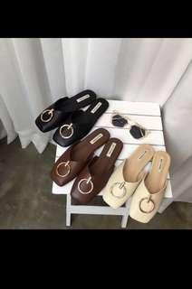 Korean style metal buckle brown half drag shoe