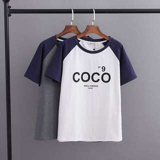 (XL~4XL) 2018 Summer Casual Print Raglan Sleeve Neck Collar Color Short-sleeved T-shirt Top