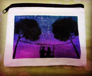 """The Couple Swing"" Handpainted Coin Purse"
