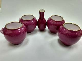Puteh pink cup. Gold rim. With box