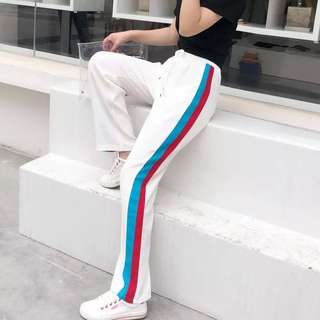 (M~XL) 2018 Summer Sports Pants Side Striped Straight Wide Leg Pants High Waist Loose Trousers
