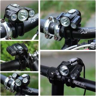 New Front beam light Lumen LED Bicycle Light Set with Power Bank Battery Pack Included