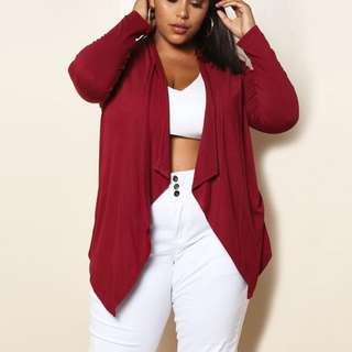 🎠 FLASH DEAL - Plus Size 4X Wine Red Shawl Oversize Sleeve Geometry Casual Top Outwear Cardigan