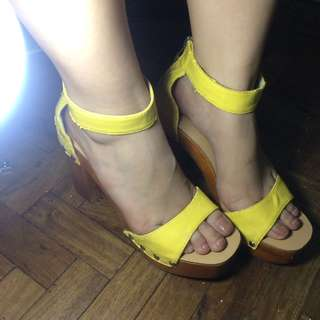 Ankle strap yellow heels