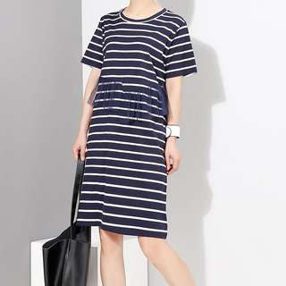 Casual new striped dress round neck short-sleeved loose straight dress