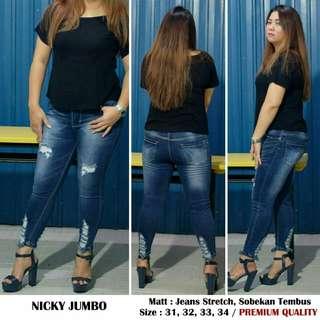 Celana jeans wanita jumbo Nicky Jeans jumbo jeans sobek jeans big size