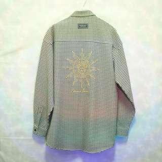 三件7折🎊 Versace 襯衫 長袖襯衫 鵝黃黑 小格紋 大電繡logo 極稀有 老品 復古 古著 Vintage