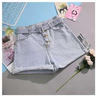 高腰寬管牛仔褲顯瘦排扣繫腰帶反摺短褲