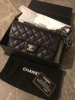 Chanel mini 20cm silver chain caviar