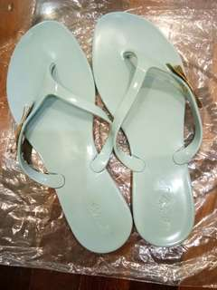 [Price reduced] 💯Original Jelly Bunny Sandals Gold Bow Light Blue Flip Flops