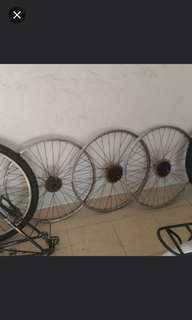 Bicycle front rim 26inch,$5, 26inch rear 6gear rim $10 ,20inch $5front rim only