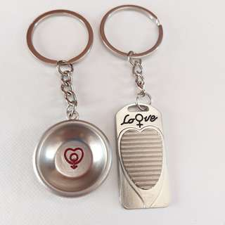 Couple Love Plate and Tray Keychain Set