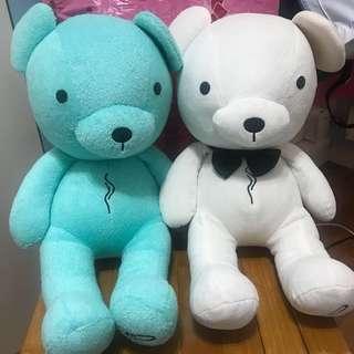 小b熊 agnes b. agnesb agnès b.  熊 玩偶 絨毛 藍色 白色 土耳其藍 白色紳士