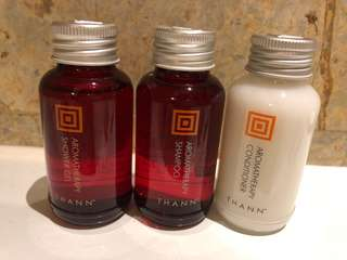 THANN miniature aromatic wood shower gel and shampoo
