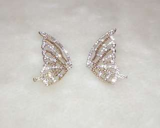 Golden Plated Butterfly Wing Rhinestone Earring