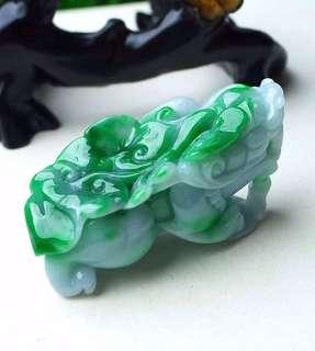 缅甸天然翡翠A货 绿色霸气 貔貅