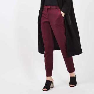 RTP$70 Topshop High Waisted Cigarette Pants in Burgundy