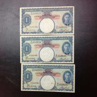 3 Malaya 1941 Notes Kgvi AUnc Running