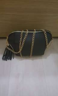 Black Shell Chained Sling Bag