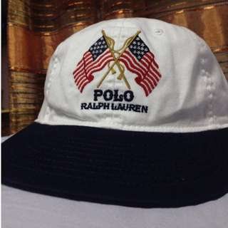 POLO RALPH LAUREN USA FLAG leather strap back hat cap 6 panel