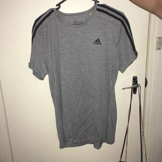 grey three stripe adidas tshirt