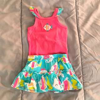Carters Top and Skirt Set