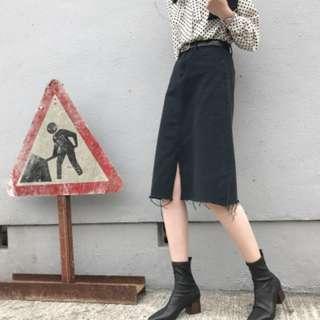 A-line long denim skirt