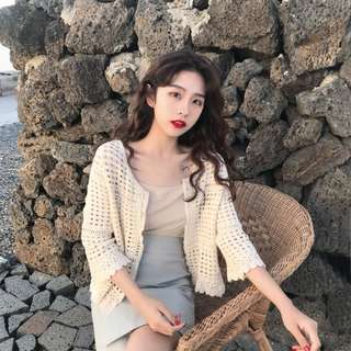 PO Hollow Cut Pattern Lace Summer 3 Quarter Sleeve Cardigan 3 Colours