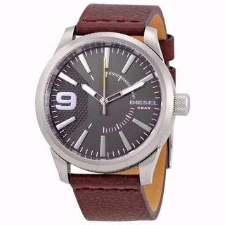 BN Diesel DZ1802 Rasp Silver Dial Brown Leather Strap Men's Watch