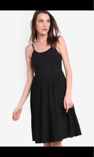 BNWT ZALORA tailored pleat midi dress in black