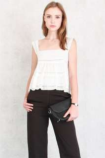 Anticlockwise Eyelet Strap Flounce Top in White