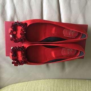 Roger vivier 40號紅色亮片框緞面圓頭平底鞋