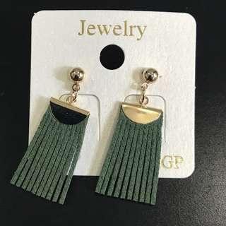 Korean - green tassels earrings